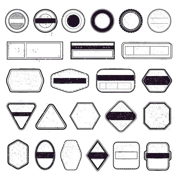 Sello de viaje vintage. plantillas de matasellos, etiquetas de correo de viaje y marcos de sellos de pasajeros aéreos. conjunto de iconos de marco de estampilla Vector Premium