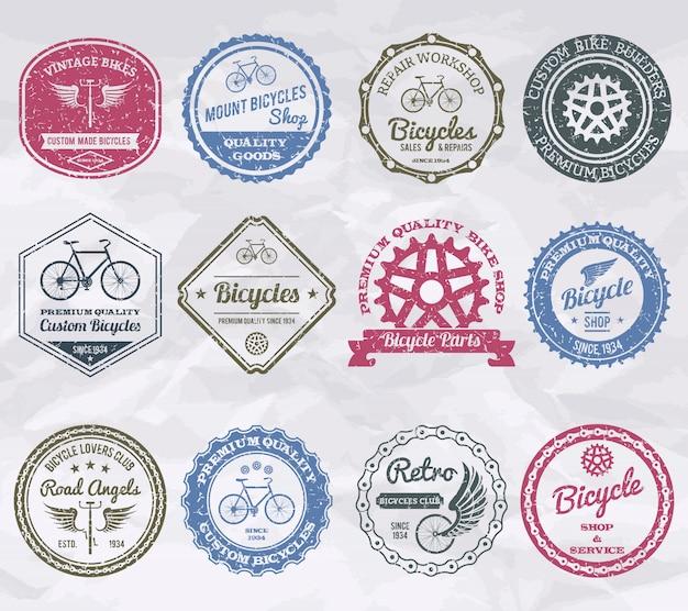 Sellos de emblemas de ciclismo Vector Premium