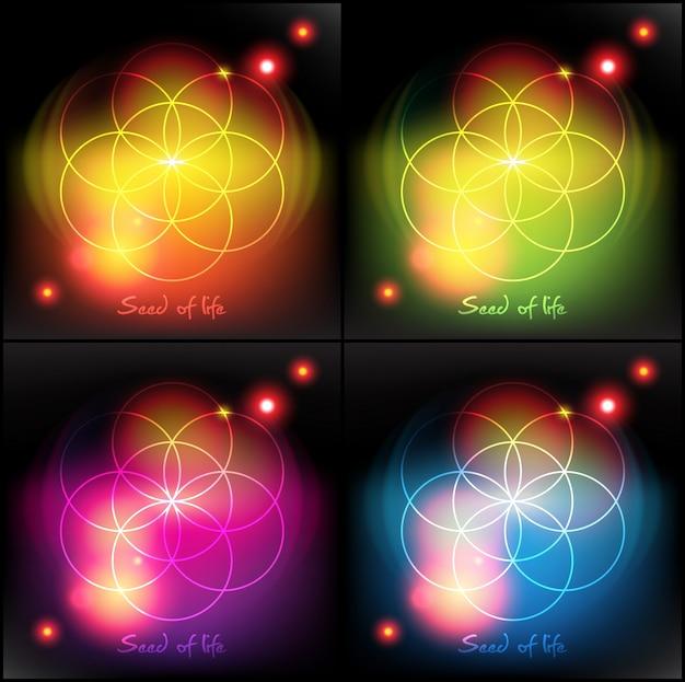 Semilla de la vida. geometría sagrada. símbolo. Vector Premium