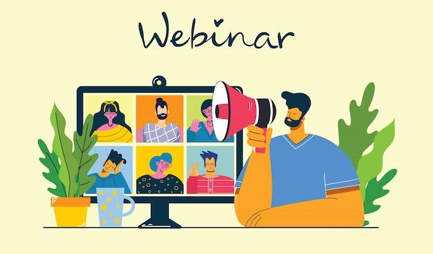 Seminario en línea ilustración del concepto. las personas usan el chat de video en computadoras de escritorio y portátiles para hacer conferencias. Vector Premium
