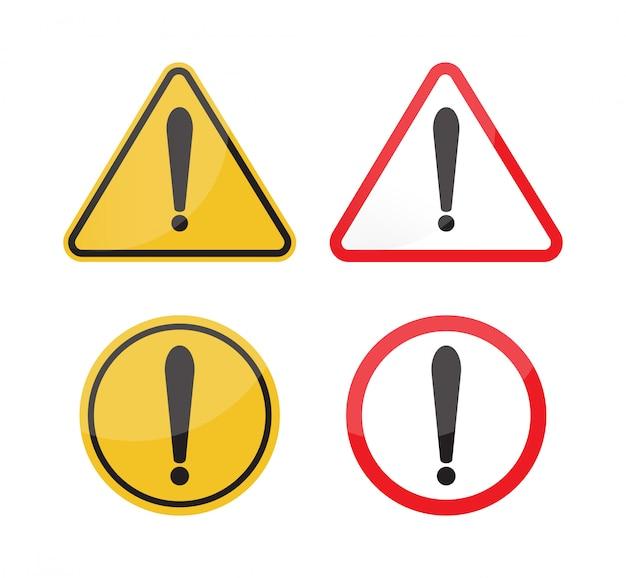 Señal de advertencia en fondo blanco Vector Premium