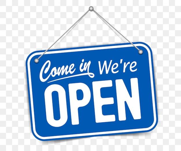 Señal azul entra estamos abiertos Vector Premium