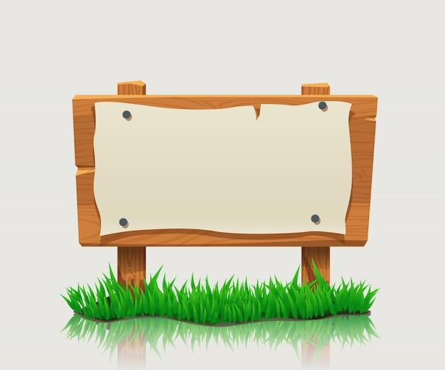 Señal direccional de madera con hierba Vector Premium