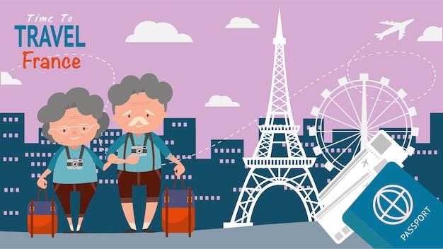 Señal famosa para las vistas arquitectónicas del viaje. los turistas mayores de los pares viajan francia en la hora mundial para viajar ejemplo del vector del concepto. Vector Premium
