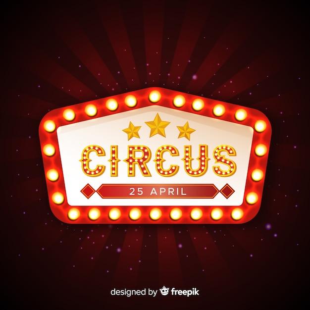 Señal luminosa vintage de circo Vector Premium