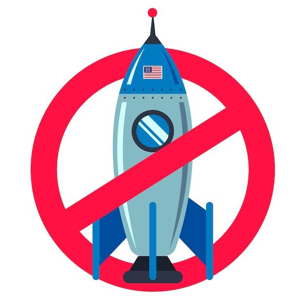 Señal de prohibido con un cohete espacial en un blanco. tecnología americana. plano . Vector Premium