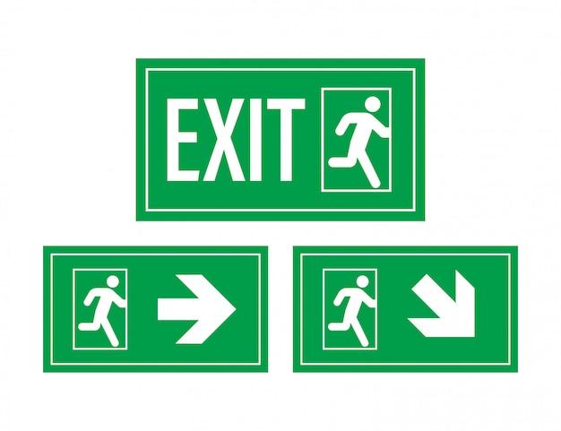 Señal de salida de emergencia. símbolo de protección fuego ilustración. Vector Premium