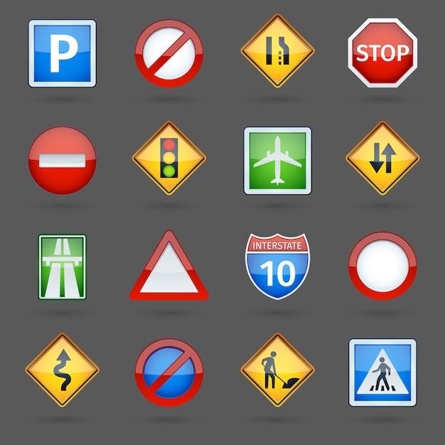 Señales de tráfico de camino conjunto de iconos brillantes vector gratuito