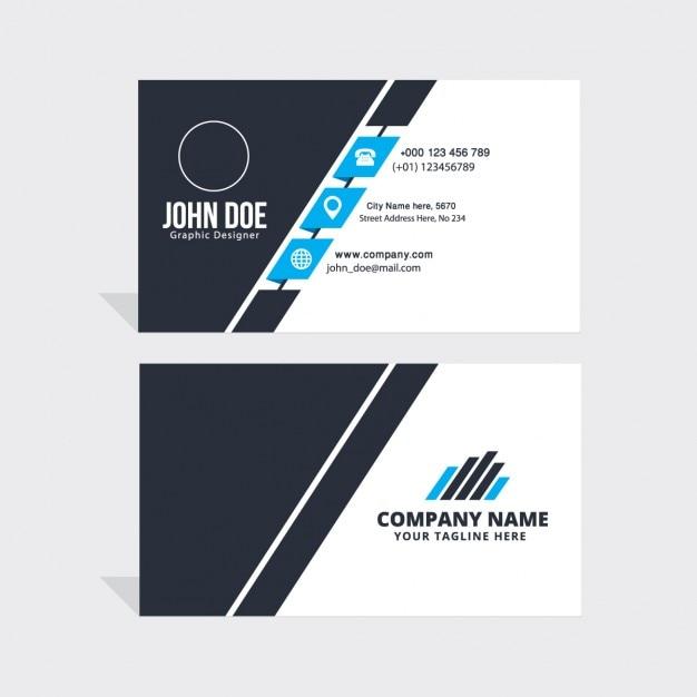 Sencilla tarjeta de visita azul, negra y blanca Vector Gratis