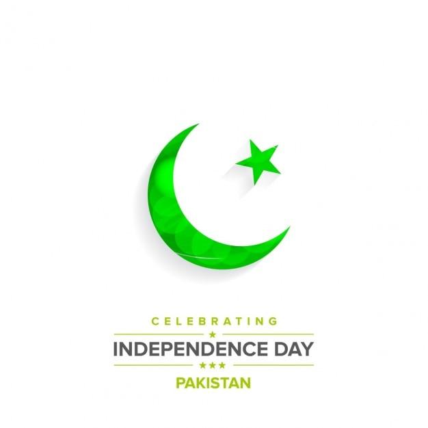 Sencillo fondo con una luna verde brilante del día de independencia de pakistán vector gratuito