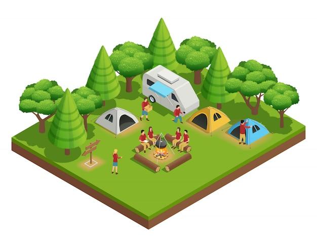 Senderismo composición isométrica con un grupo de personas que acamparon en el bosque y se sientan alrededor del campamento. vector gratuito