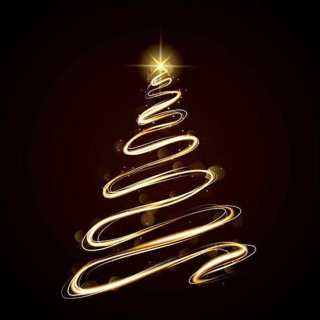 Sendero de luz árbol de navidad vector gratuito