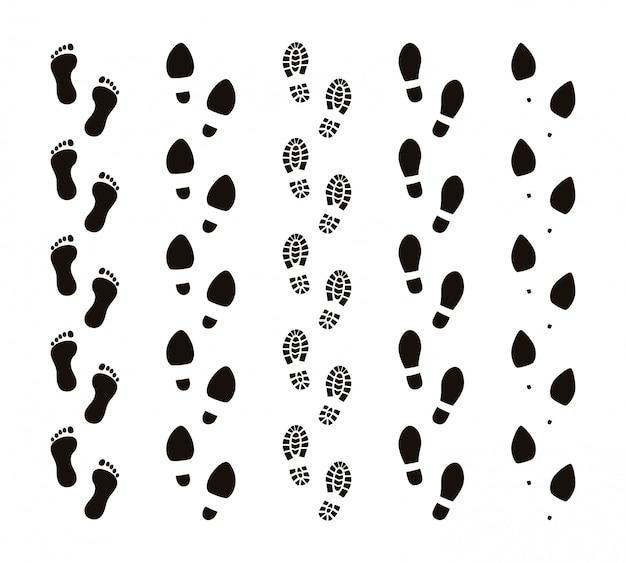 Senderos de huella. pies descalzos, pasos humanos, pasos graciosos de personas, seguir el concepto, siluetas negras. conjunto de ruta de huellas Vector Premium