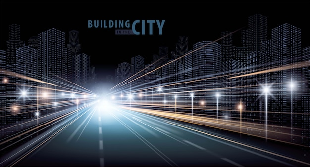 Los senderos de luz en la carretera y el vector moderno edificio Vector Premium