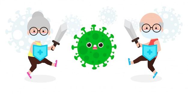 Senior pareja lucha con coronavirus (2019-ncov), personaje de dibujos  animados anciano y mujer atacan covid-19, ancianos y protección contra  virus y bacterias, concepto de estilo de vida saludable sobre fondo blanco |