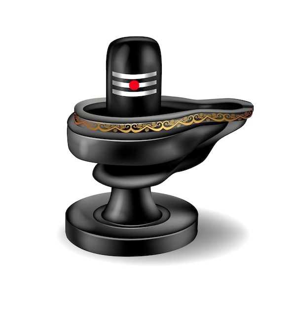 Señor de piedra negra shiva lingam Vector Premium