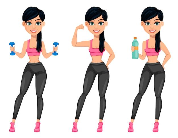 Señora bastante deportiva, atractiva mujer fitness Vector Premium