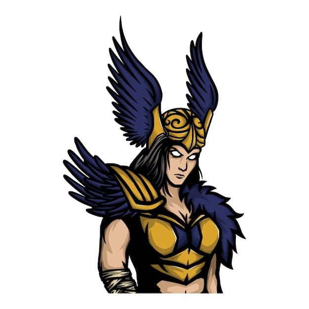 Señora vikinga guerrera con alas casco. Vector Premium