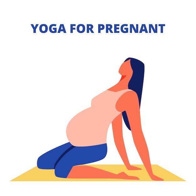 Sentado en la alfombra de gimnasia amarilla. yoga para embarazadas Vector Premium