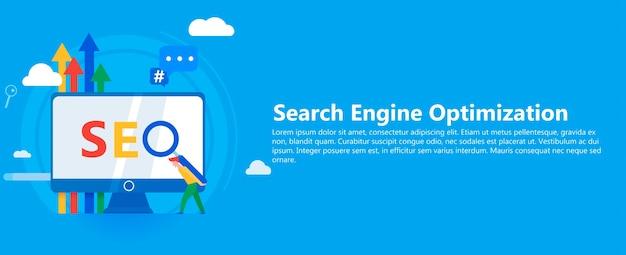 Seo banner. trabajar en el contenido del sitio y su indexación de los motores de búsqueda. vector gratuito