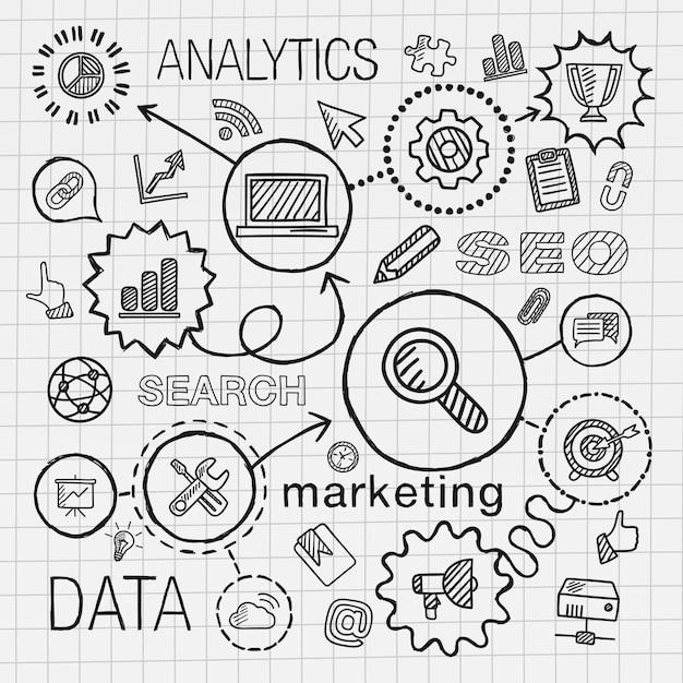 Seo mano dibujar conjunto de iconos integrados. boceto de ilustración infográfica con línea conectada doodle pictogramas de sombreado en papel. conceptos de marketing, redes, análisis, tecnología, optimización, servicios Vector Premium