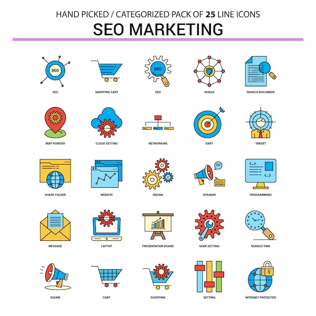 Seo marketing flat line icon set - diseño de iconos de concepto de negocio vector gratuito