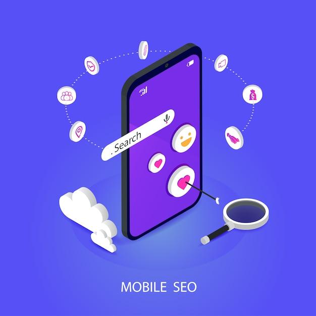 Seo o optimización del motor de búsqueda isométrica móvil. marca, y medios digitales de marketing concepto de vector plano Vector Premium