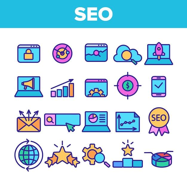 Seo search engine optimization icons seo Vector Premium