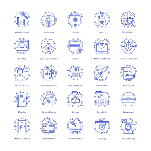 Seo vector icons pack Vector Premium