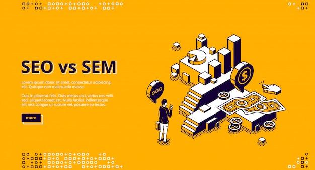 Seo vs sem aterrizaje isométrico, marketing digital vector gratuito
