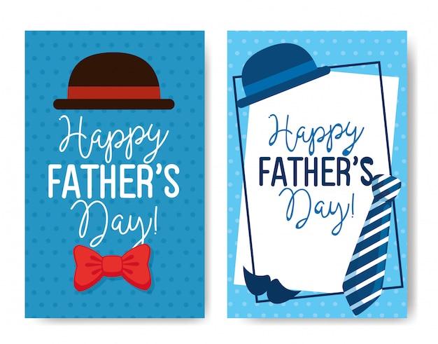 Ser tarjetas de feliz dia del padre con decoracion Vector Premium