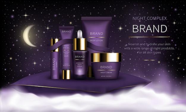 Serie de cosmética nocturna para el cuidado facial de la piel. vector gratuito