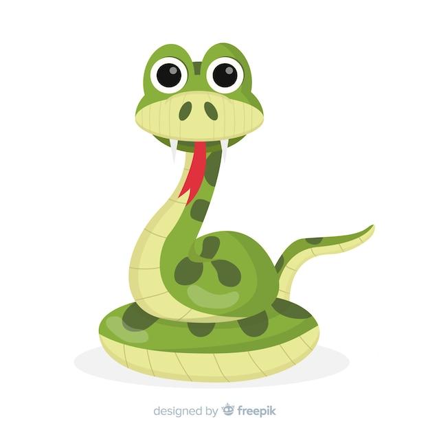 Serpiente en diseño plano vector gratuito