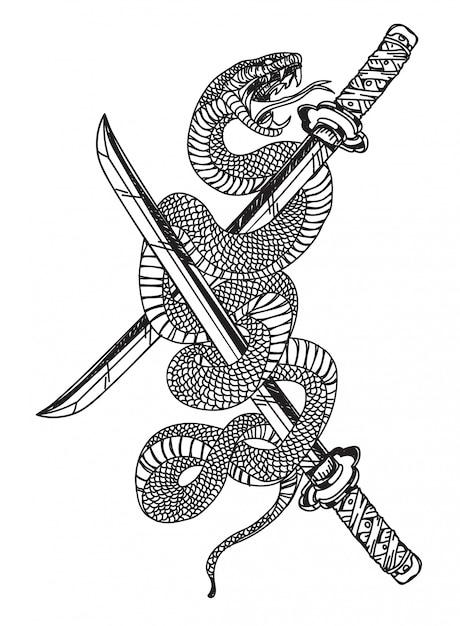 Serpiente y espada Vector Premium