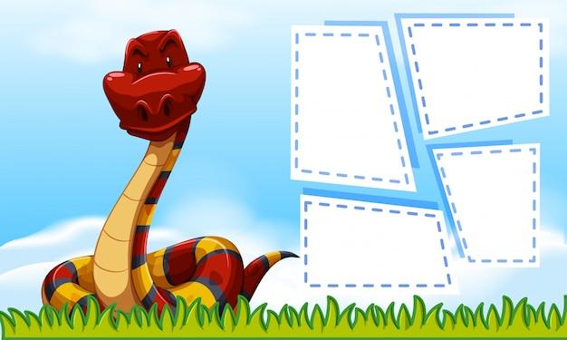Serpiente en plantilla marco vector gratuito