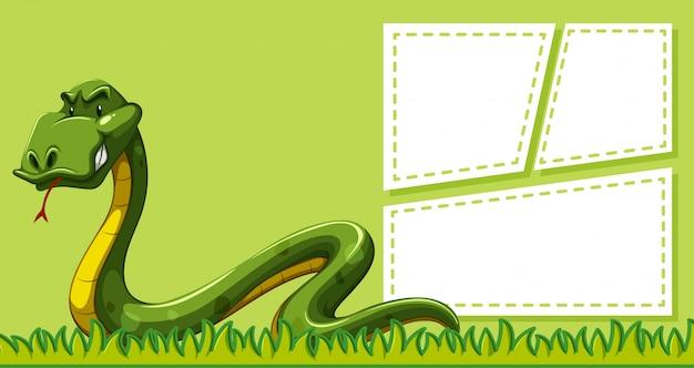 Una serpiente en plantilla de nota vector gratuito