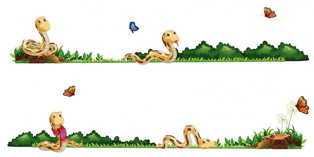 Serpientes rastreo en el campo de ilustración vector gratuito