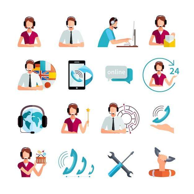 El servicio al cliente en todo el mundo establece elementos planos con el operador de servicio de asistencia y la asistencia técnica resumen ilustración vectorial aislada vector gratuito