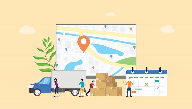 Servicio de calendario de sistema de entrega en línea con personas del equipo. Vector Premium