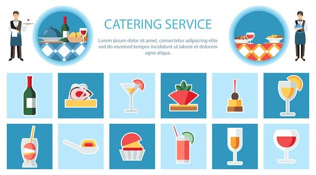 Servicio de catering página web plana vector plantilla Vector Premium