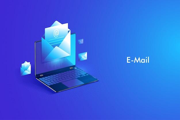 Servicio de correo electrónico de diseño isométrico. mensaje de correo electrónico y correo web o servicio móvil. Vector Premium