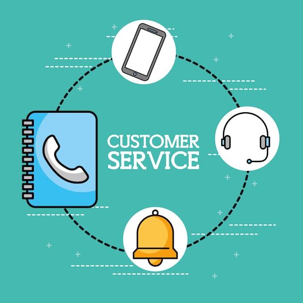 Servicio de atención al cliente de teléfono con auricular de libreta ...