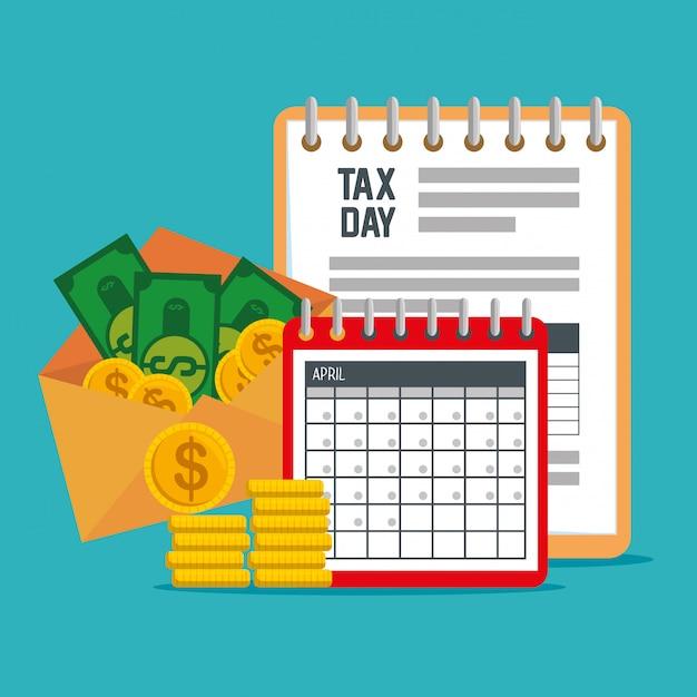 Servicio de documento fiscal con calendario y monedas vector gratuito