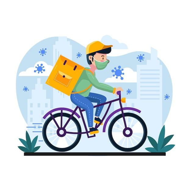 Servicio a domicilio con hombre en bicicleta Vector Premium