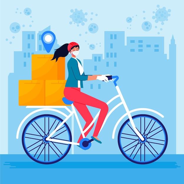 Servicio a domicilio mujer en bicicleta vector gratuito