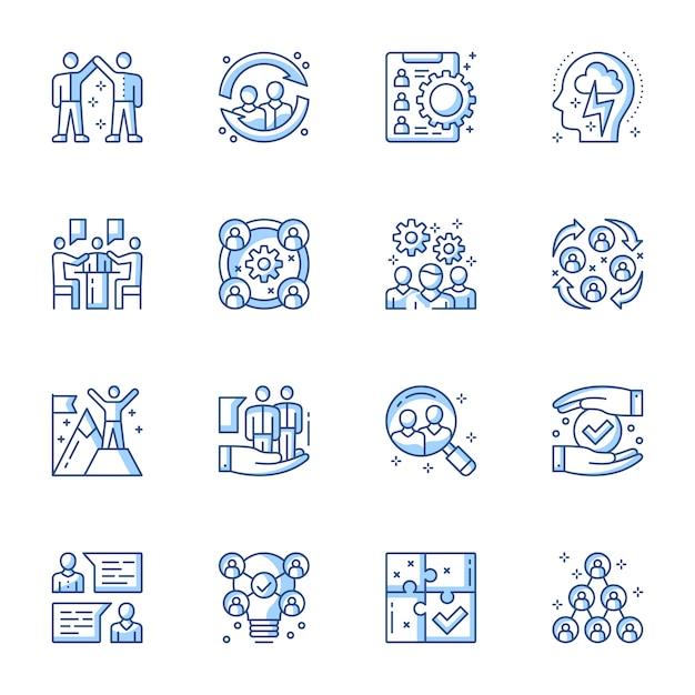 Servicio de empleo, equipo de construcción conjunto de iconos de vector lineal. Vector Premium