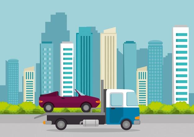 Servicio de entrega de camiones aislado vector gratuito