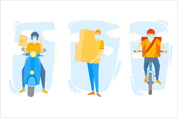 Servicio de entrega con concepto de máscaras vector gratuito