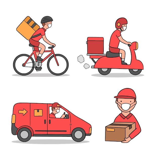 Servicio de entrega con diseño de ilustración de máscara vector gratuito