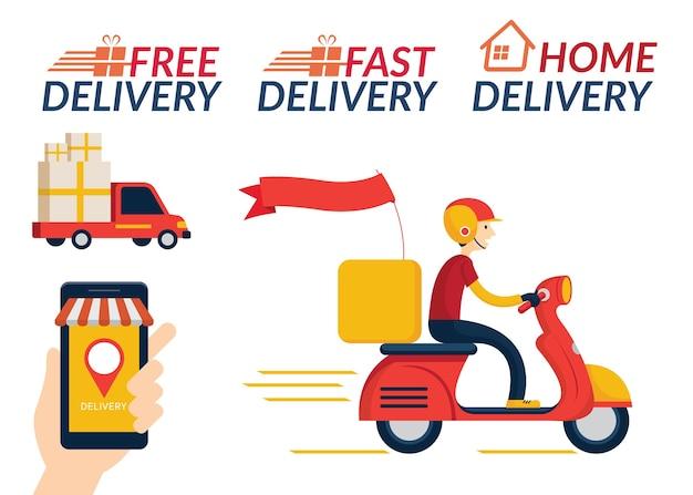 Servicio de entrega a domicilio, compras en línea, envío en camión y scooter o motocicleta Vector Premium